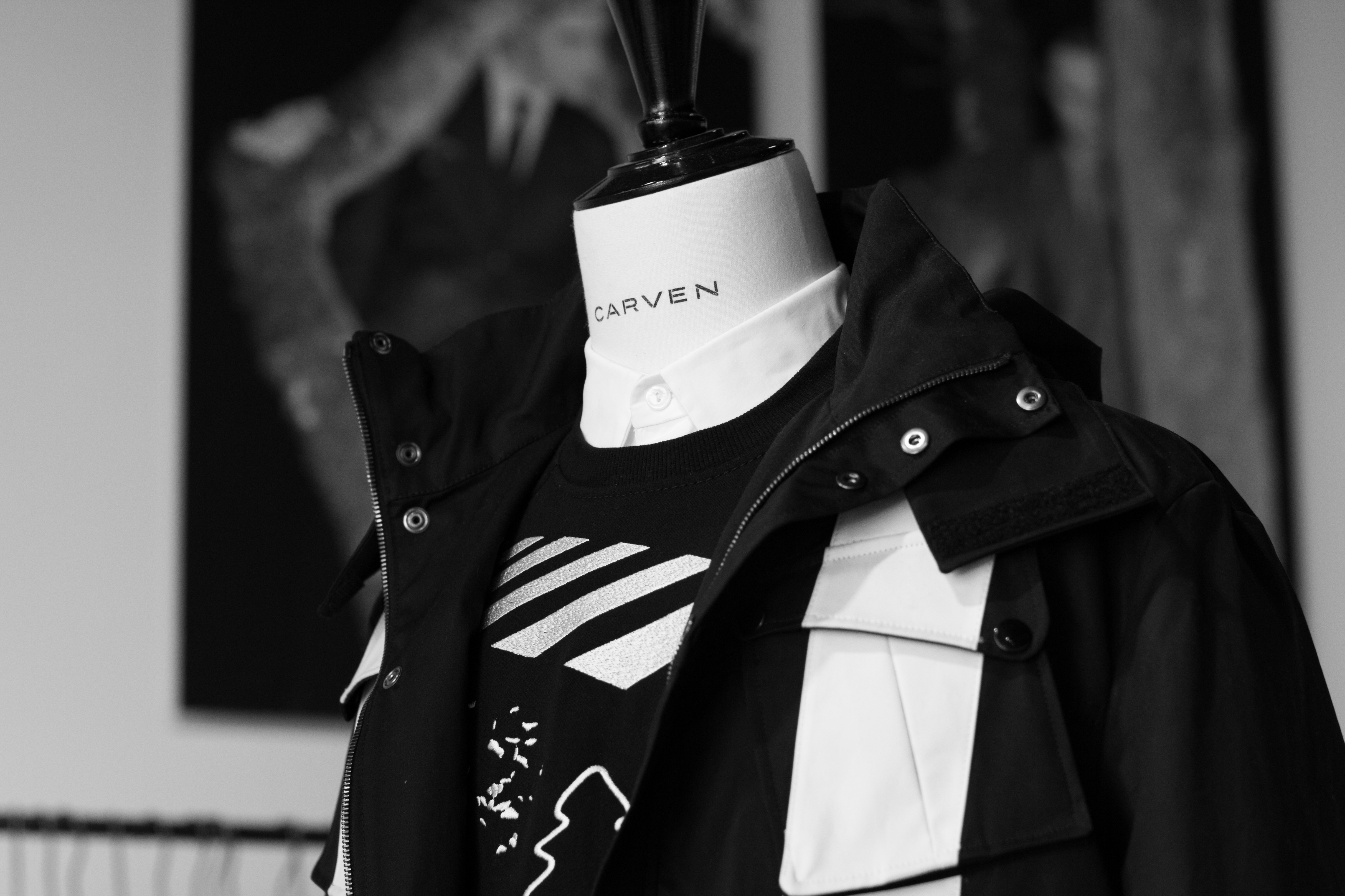 Black and white parka jacket at Carven