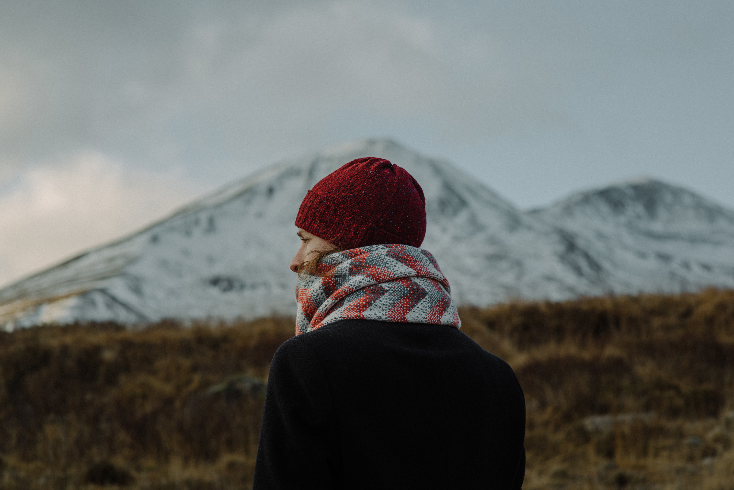 Donegal Wool Beanie by Oubas Knitwear and Elska Shawl by Hilary Grant / Photograph by Steven Gallagher