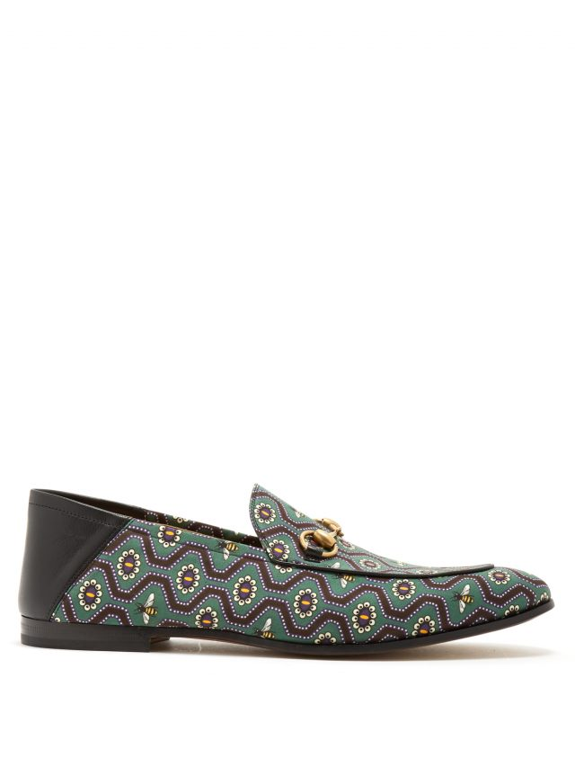 Gucci - Brixton bee-print canvas loafers